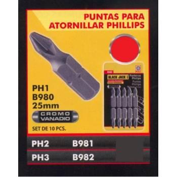 SET PUNTAS PH2 25MM BLACK...